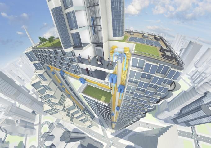 티센크루프엘리베이터가 개발하고 있는 '멀티 엘리베이터' 조감도. 통로(노란색)를 따라 엘리베이터(파란색)가 건물 안을 수직·수평으로 움직인다.  - 티센크루프 제공